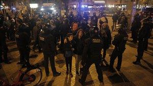 La Brimo disuelve una de las manifestaciones convocadas en la Meridiana, en una foto de archivo.