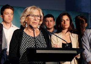 La alcaldesa en funciones de Madrid, Manuela Carmena, durante su comparecenciapara valorar los resultados de las elecciones al Ayuntamiento.