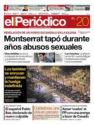 La portada d'EL PERIÓDICO del 20 de gener del 2019