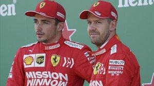 Charles Leclerc y Sebastian Vettel,en la presentación de Ferrari.