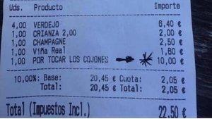 """Broma viral: cobran 10 euros en una taberna """"por tocar los cojones"""""""