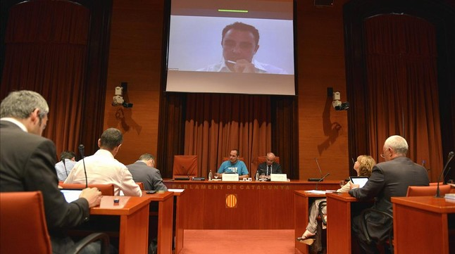 Comparecencia de Falciani por videoconferencia en la 'comisión Pujol'.