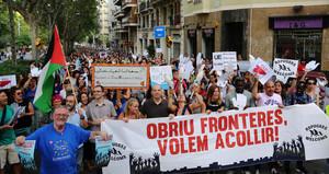 Manifestación en Barcelonapor el Dia Mundial de las Personas Refugiadas, en el año 2016.