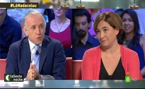 Eduardo Inda, junto a Ada Colau en La Sexta noche.
