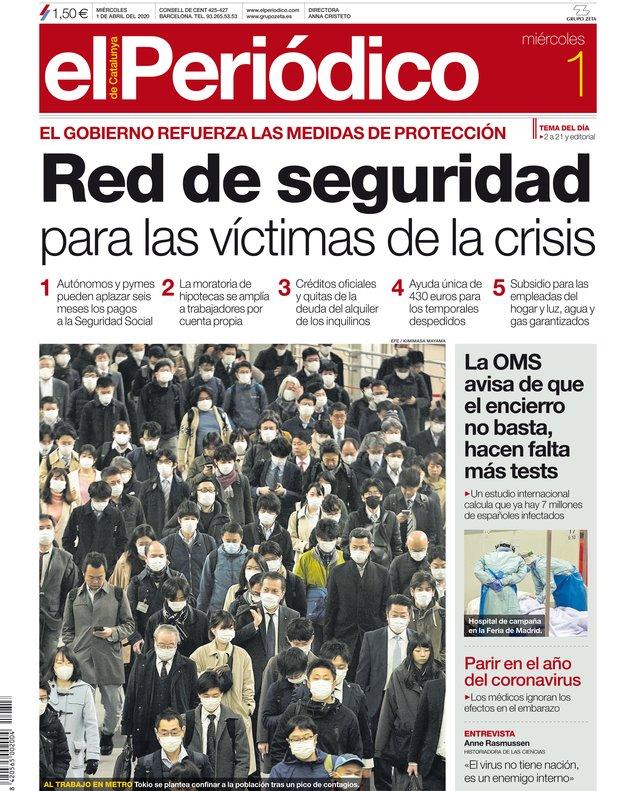 La portada d'EL PERIÓDICO de l'1 de abril del 2020