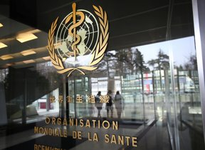 FILE PHOTO: A logo is pictured outside a building of the World Health Organization (WHO) during an executive board meeting on update on the coronavirus outbreak, in Geneva, Switzerland, February 6, 2020. REUTERS/Denis Balibouse/File Photo