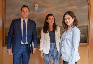 Los líderes de Ciudadanos,Vox y PP en la Comunidad de Madrid, Ignacio Aguado,Rocío Monasterio eIsabel Díaz Ayuso (de izquierdaa derecha).