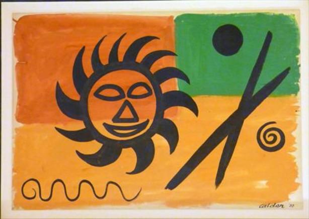 Una de las tres aguadas sobre papel de Alexander Calder que pueden verse en la exposición.