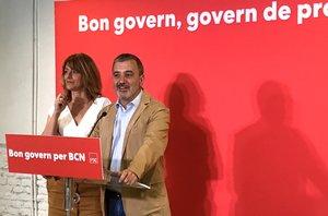 Collboni y Laia Bonet, este sábado, en la sede del PSC de Barcelona.