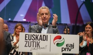 Iñigo Urkullu, tras conocer los resultados de las elecciones del pasado 12 de julio, enlas que salióreelegido.