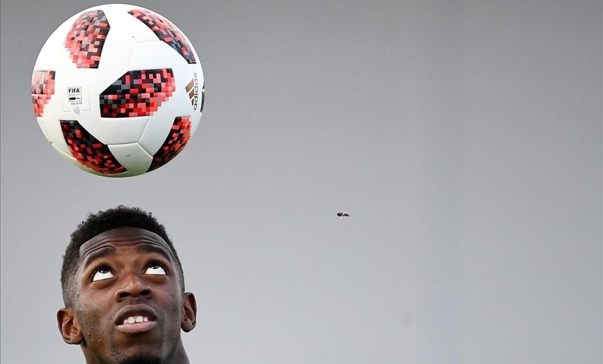 Dembélé, en un entrenamiento con Francia.