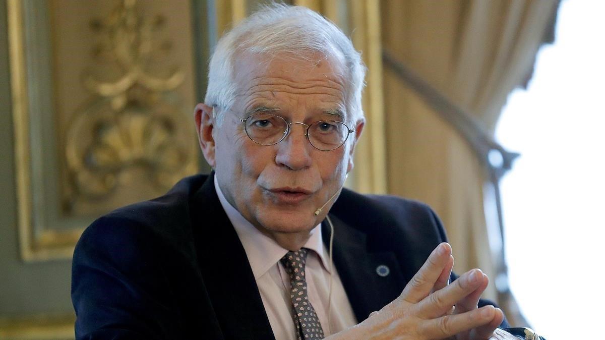 El jefe de la diplomacia europea, Josep Borrell, durante una conferencia en la Casa América de Madrid.