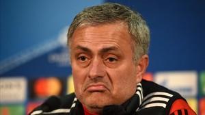 Jose Mourinho, técnico del Manchester United, en su conferencia de prensa de hoy antes de recibir al Sevilla (0-0).