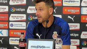 Juan Carlos Moreno, en la rueda de prensa previa a su debut en Montilivi ante el Alcorcón.