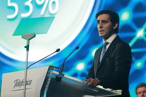 El presidente de Telefónica, José María Álvarez-Pallete, durante su intervención ante la junta de accionistas de la multinacional en el 2017.