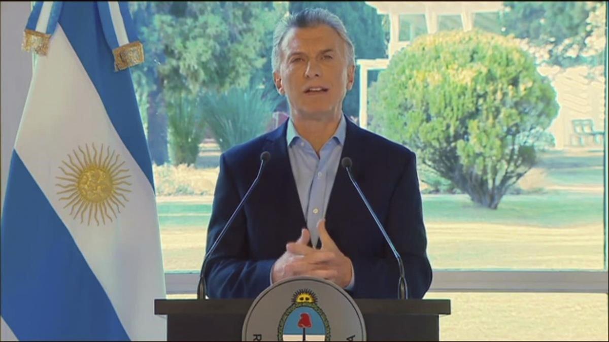 Macri durante su intervención en la televisión argentina.