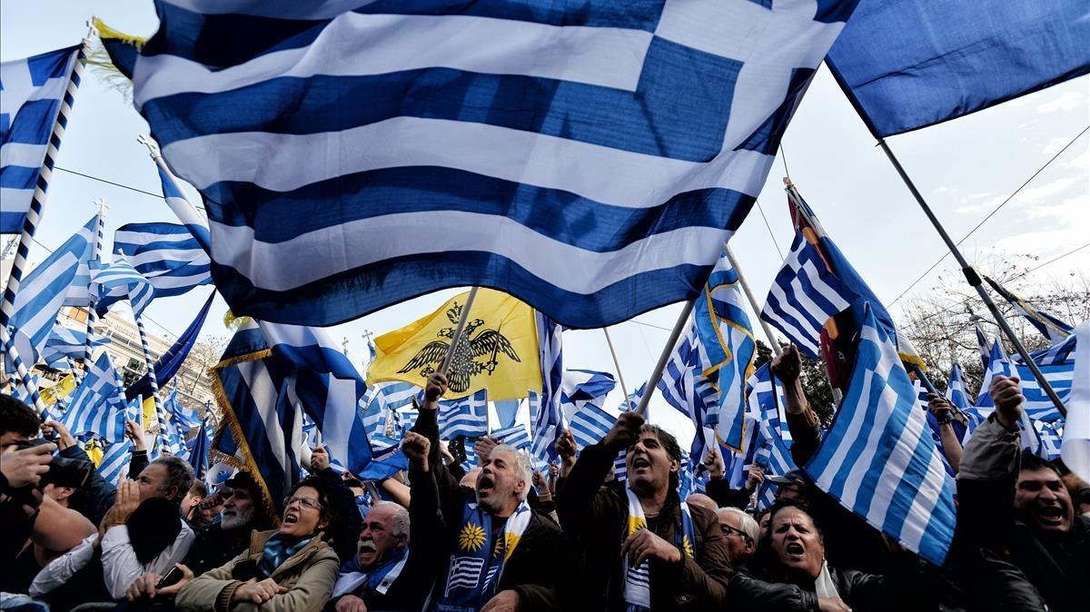 Manifestación en Atenas por el nombre de Macedonia, este domingo, 4 de febrero.