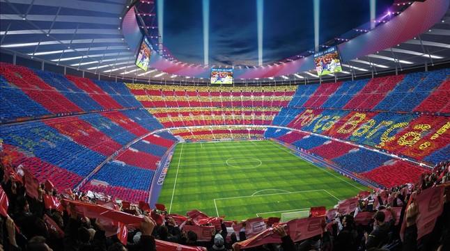 La maqueta de la remodelación del Camp Nou, la estrella del Espai Barça.