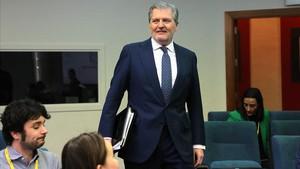 El ministro portavoz, Íñigo Méndez de Vigo, en la sala de prensa del Consejo de Ministros.