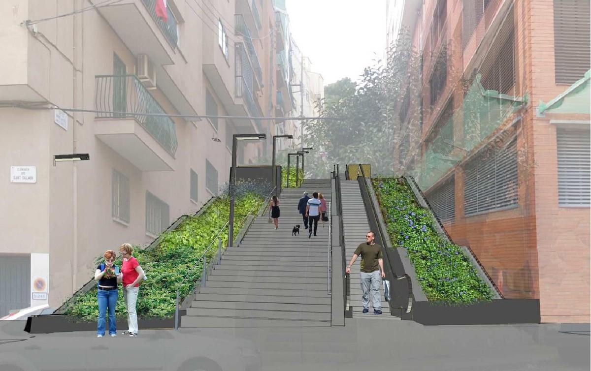 Escaleras mecánicas enla calle de Mare de Déu dels Àngels.
