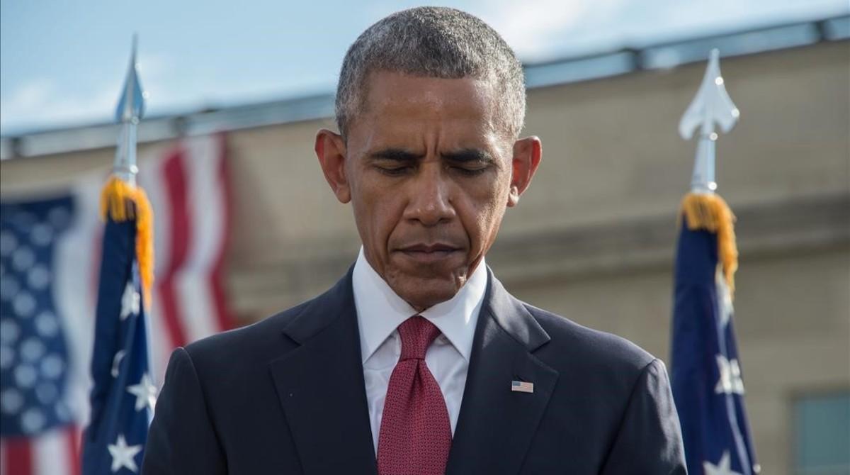Obama en el Pentágono en la ceremonia de homenaje a las víctimas del 11-S.