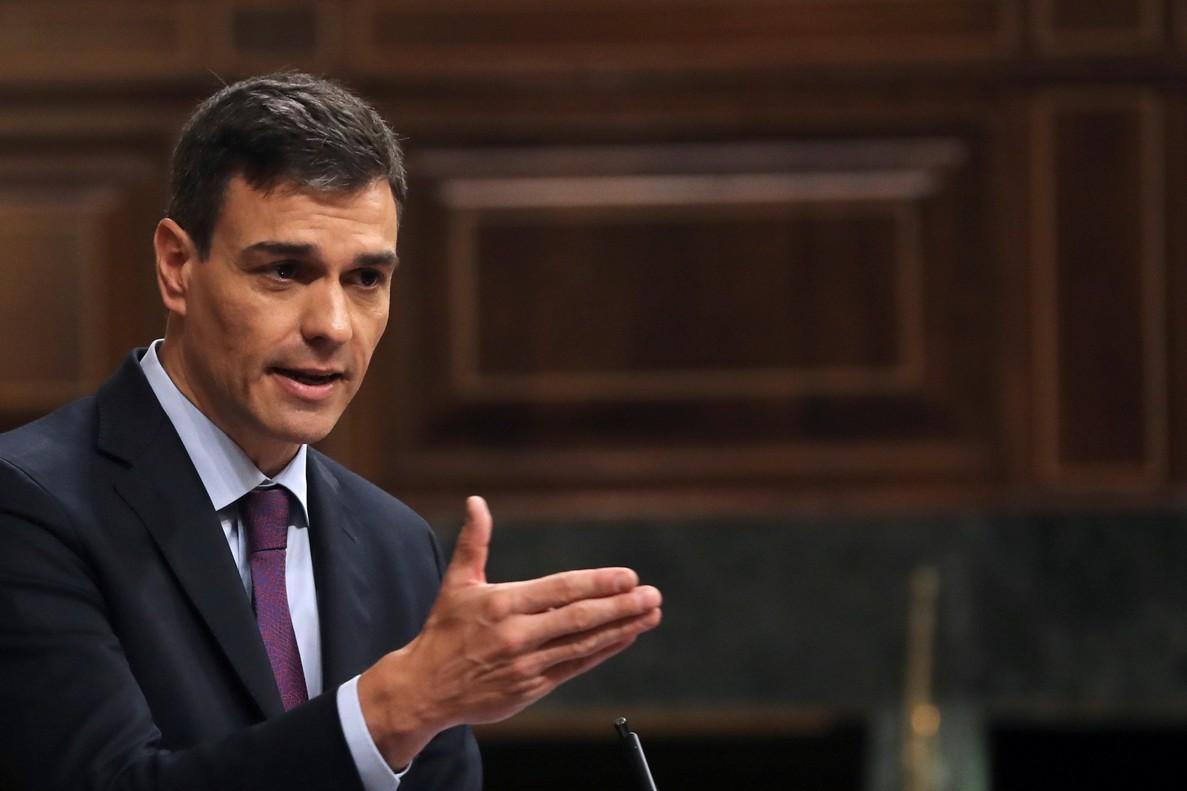 El presidente del Gobierno, Pedro Sánchez, durante unacomparecencia en el Congreso.