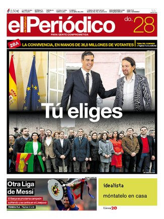 La portada de EL PERIÓDICO del 28 de abril del 2019