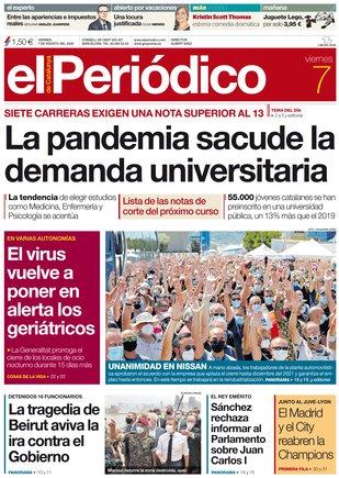 La portada de EL PERIÓDICO del 7 de agosto del 2020