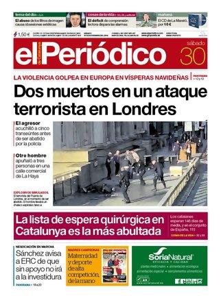 La portada de EL PERIÓDICO del 30 de noviembre del 2019