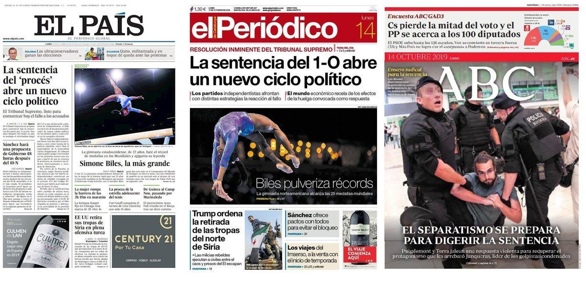 Prensa de hoy: Las portadas de los periódicos del lunes 14 de octubre del 2019