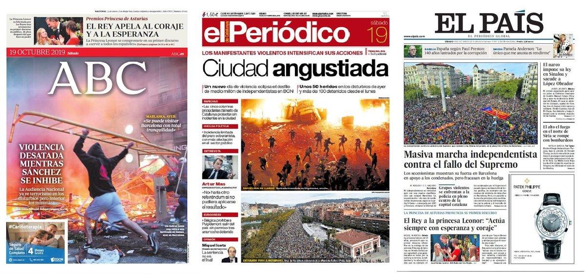 Prensa de hoy: Las portadas de los periódicos del sábado 19 de octubre del 2019