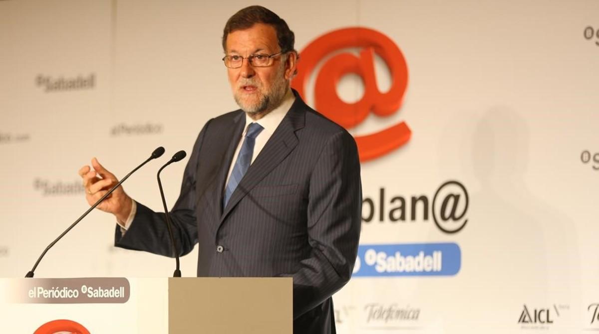 El presidente del Gobierno en funciones y candidato a la reelección del PP, Mariano Rajoy, durante su intervención en el foro Primera Plana de EL PERIÓDICO.