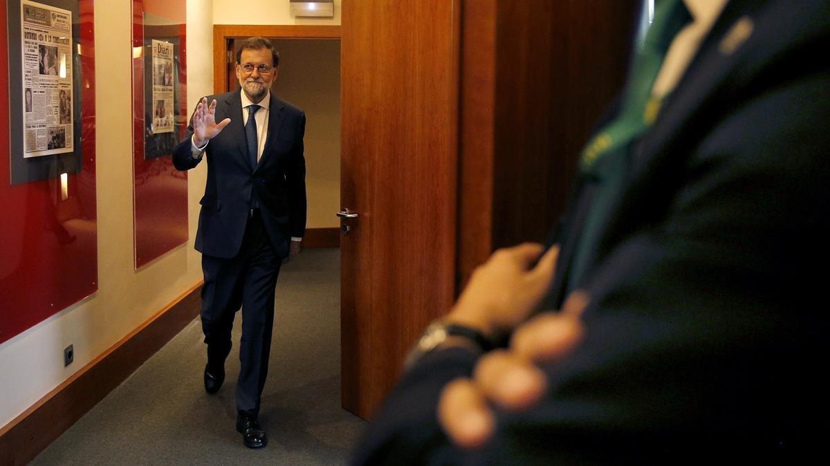 El presidente del Gobierno, Mariano Rajoy, tras la rueda de prensa posterior al Consejo de Ministros.