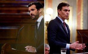 El presidente del Gobierno, Pedro Sánchez, y el líder de la oposición, Pablo Casado