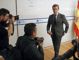 El presidente de Galicia, Alberto Núñez Feijoo, en el consello en que anunció elecciones