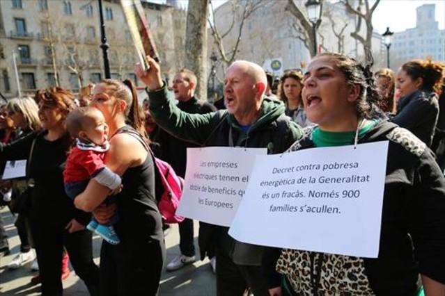 Protesta contra la pobresa energètica a Barcelona, el març passat.