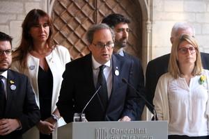 Quim Torra durante la lectura de la declaración institucional en el primer aniversario de los atentados del 17A.