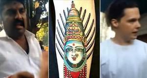 Representació de la deessa hindú Yellamma que Matt Keith porta tatuada a la cama.