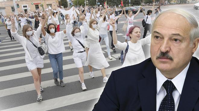 La revolución en Bielorrusia de las mujeres de blanco contra el gobierno.