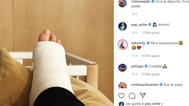 Risto Mejide se lesiona jugando al pádel.