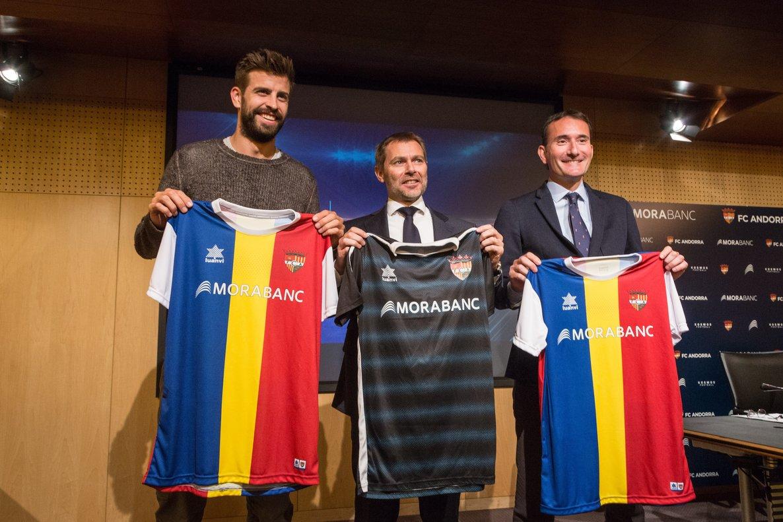 Piqué, durante la presentación del patrocinador del Andorra.