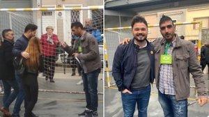 Fotografías publicadas por Rufián en el mensaje de disculpa en la que se le veeposando con un apoderado de Vox