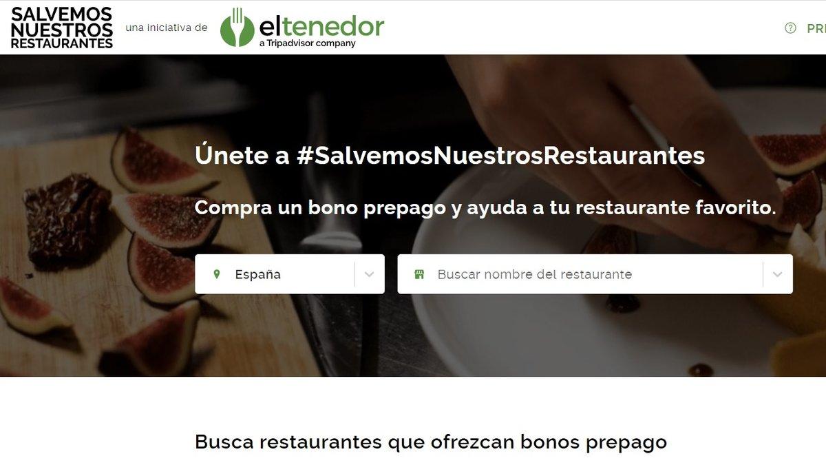 Imagen de la web de www.salvemosnuestrosrestaurantes.es