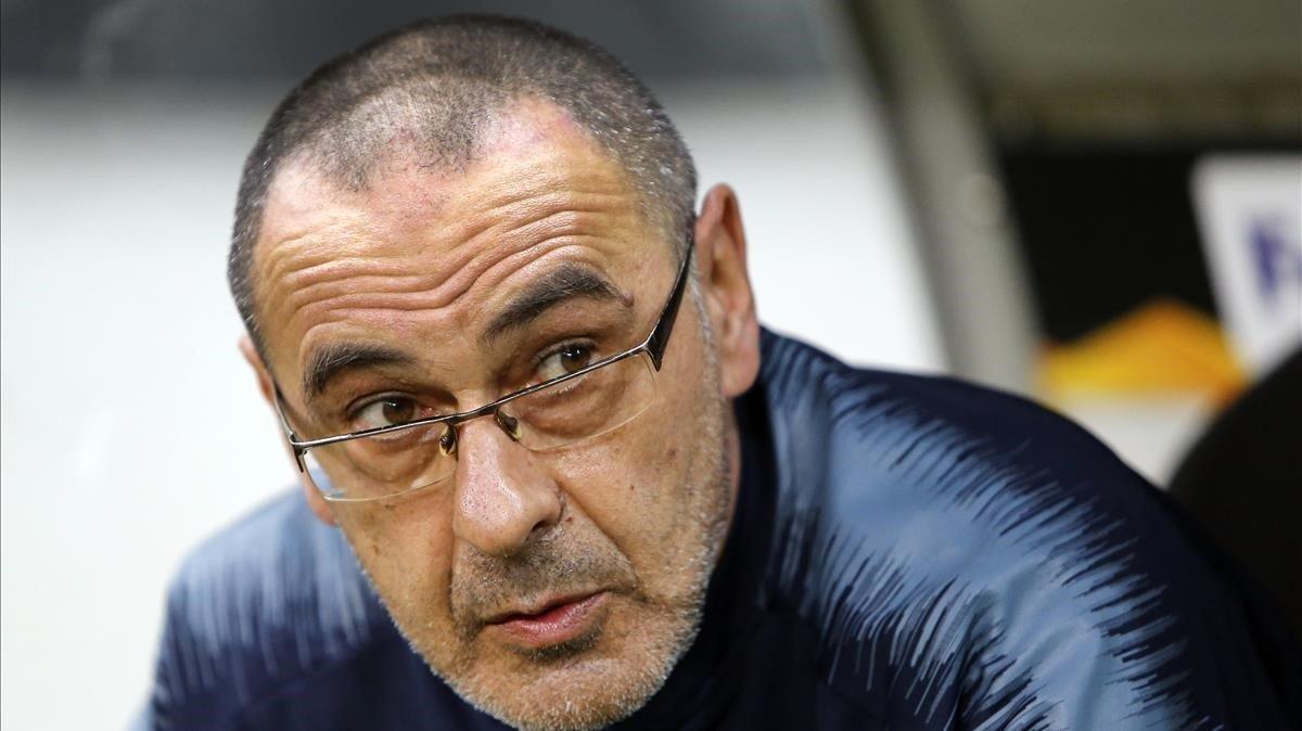 Sarri, en un partido con el Chelsea.