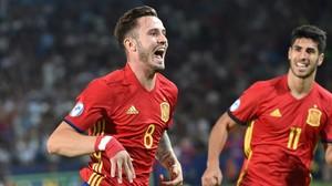 Saúl celebra su primer gol frente a Italia en el partido de la Rojita en la semifinal del Europeo sub-21.