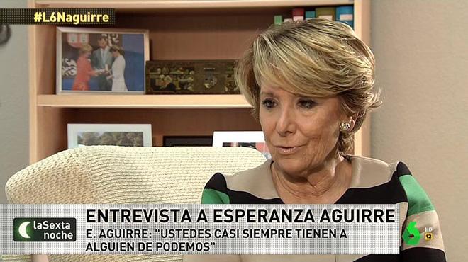 Esperanza Aguirre, entrevistada en 'La Sexta noche' (La Sexta).