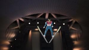 El suizoGregor Deschwanden salta en el trampolin pequeño, cuya calificación empezó este jueves en los Juegos.