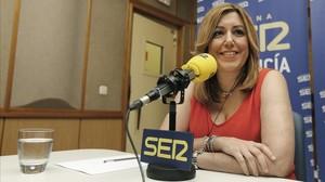 La presidenta de la Junta de Andalucía, Susana Díaz, durante la entrevista que ha concedido este martes a la cadena SER.