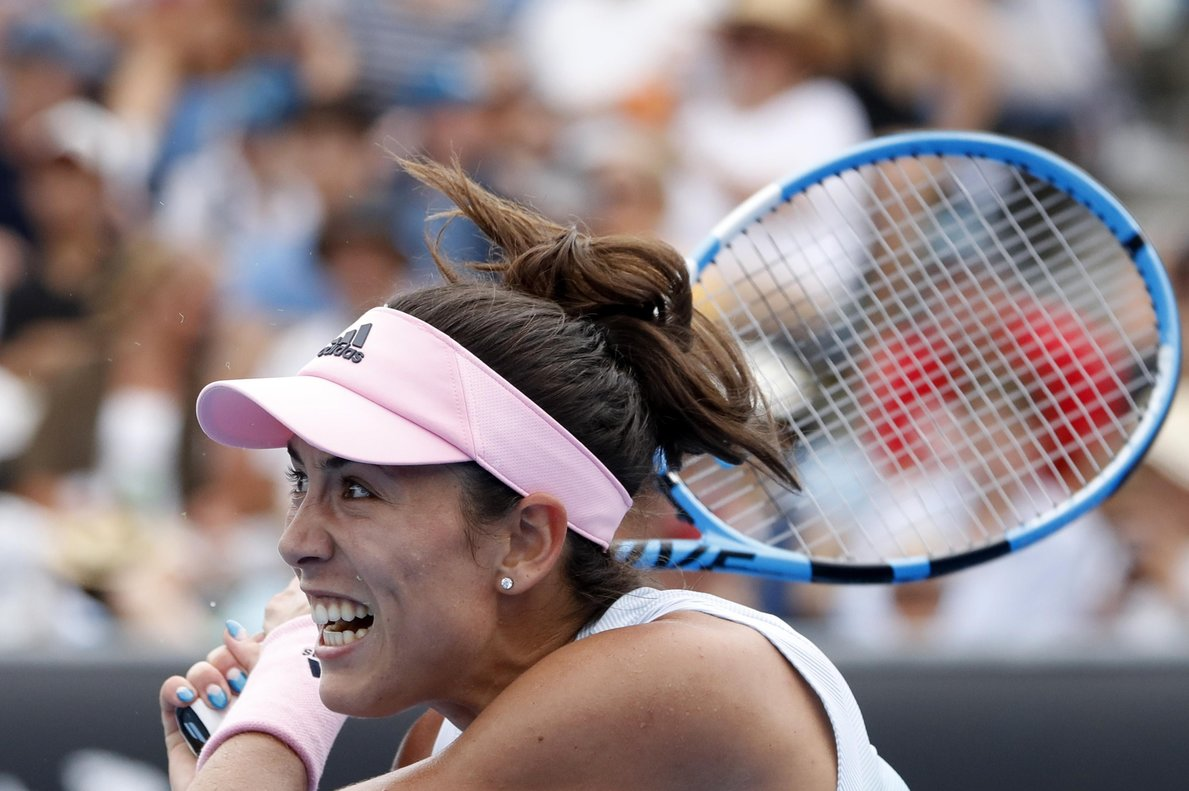 Tennis - Australian Open - First Round - Melbourne Park, Melbourne, Australia, January 15, 2019. Spainâ¿¿s Garbine Muguruza in action during the match against China's Zheng Saisai. REUTERS/Aly Song