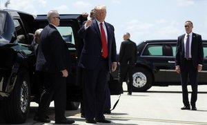 Trump a su llegada este miércoles a Dayton.